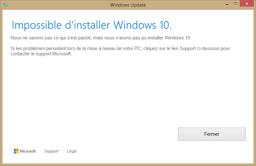 Impossible d'installer W10